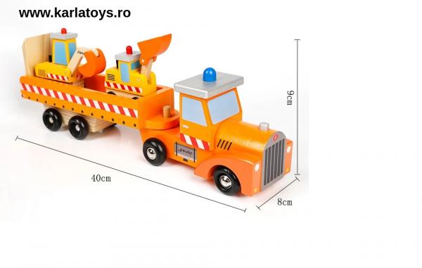 Camion cu Utilaje din lemn Engineering Vehicles pentru copii 2
