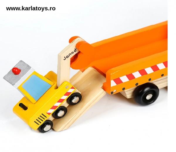 Camion cu Utilaje din lemn Engineering Vehicles pentru copii 6