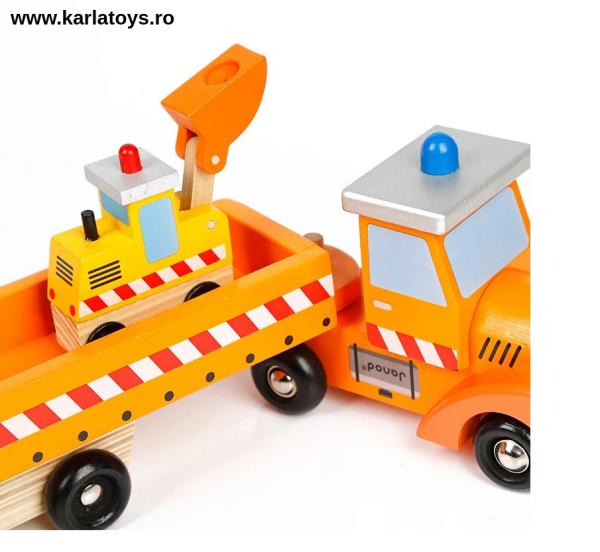 Camion cu Utilaje din lemn Engineering Vehicles pentru copii 4