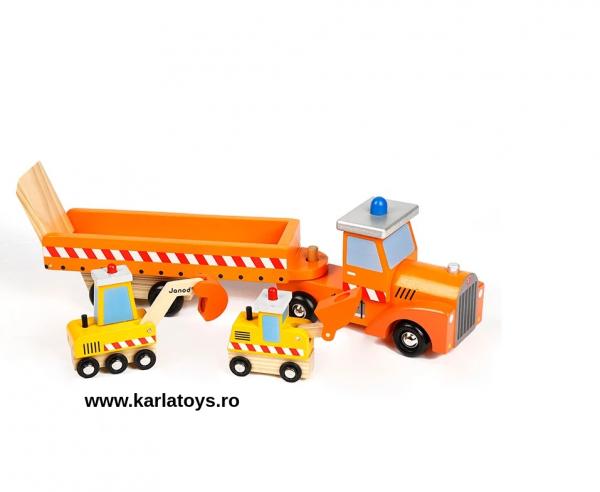 Camion cu Utilaje din lemn Engineering Vehicles pentru copii 5