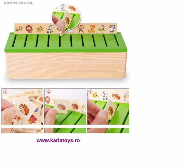 Joc educational Montessori Sortator de cartonase Card Box 0