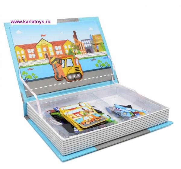 Carte Magnetica Puzzle Vehicule 3D pentru copii 4