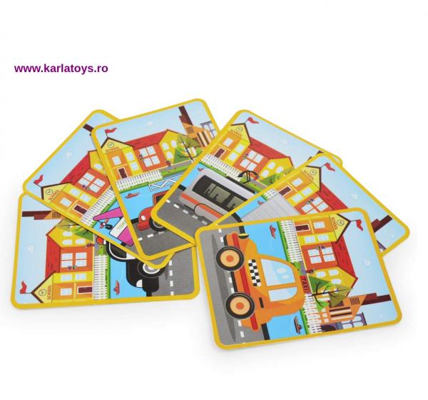 Carte Magnetica Puzzle Vehicule 3D pentru copii 3