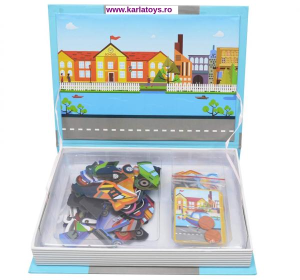 Carte Magnetica Puzzle Vehicule 3D pentru copii 2
