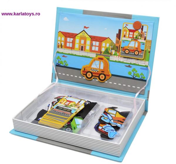 Carte Magnetica Puzzle Vehicule 3D pentru copii 1