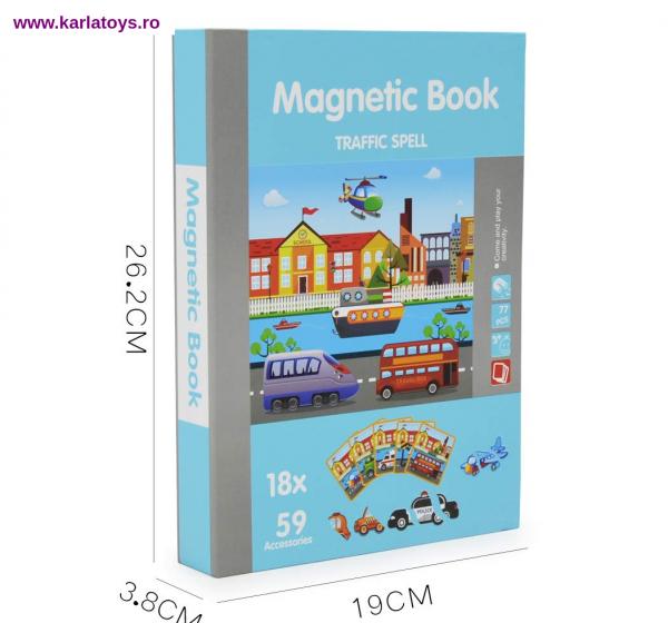 Carte Magnetica Puzzle Vehicule 3D pentru copii 0