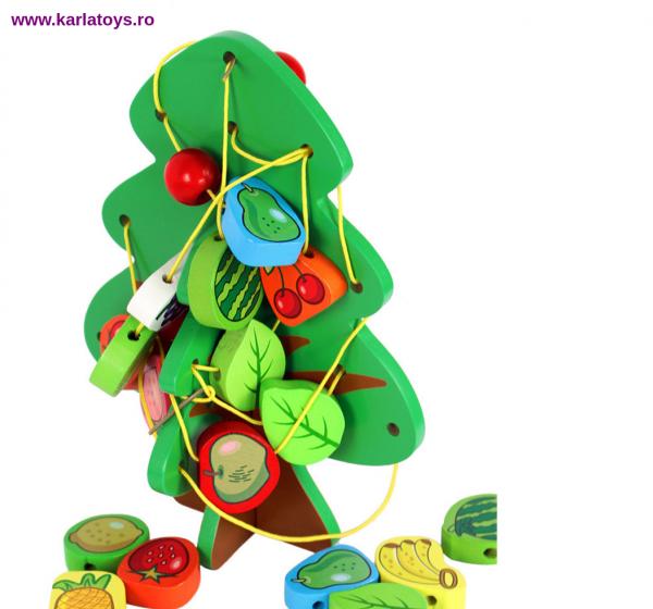 Jucarie Montessori  sa insiruim Pomul cu Fructe  din lemn 3