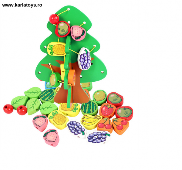 Jucarie Montessori  sa insiruim Pomul cu Fructe  din lemn 2
