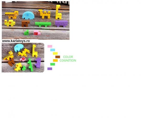 Jucarie din lemn educationala Autobuzul cu animale si Xilofon 8