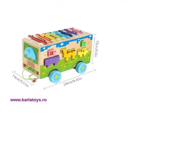 Jucarie din lemn educationala Autobuzul cu animale si Xilofon 5