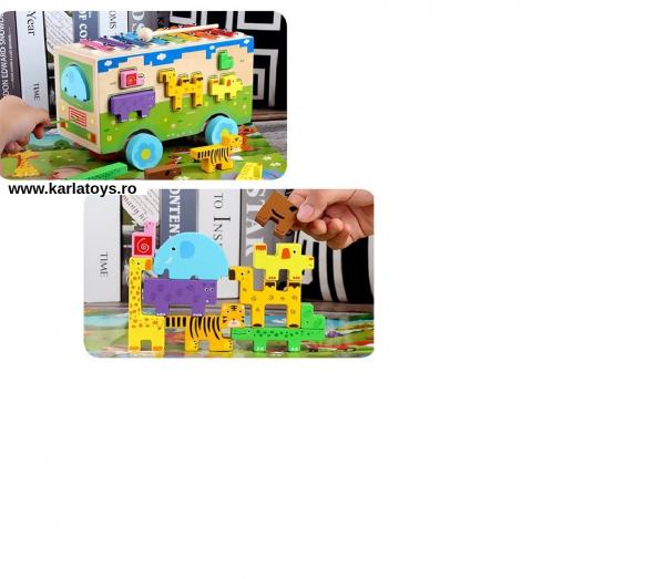 Jucarie din lemn educationala Autobuzul cu animale si Xilofon 4