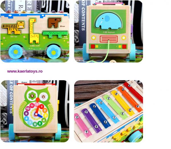Jucarie din lemn educationala Autobuzul cu animale si Xilofon 2