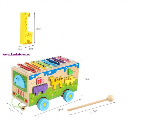 Jucarie din lemn educationala Autobuzul cu animale si Xilofon 3