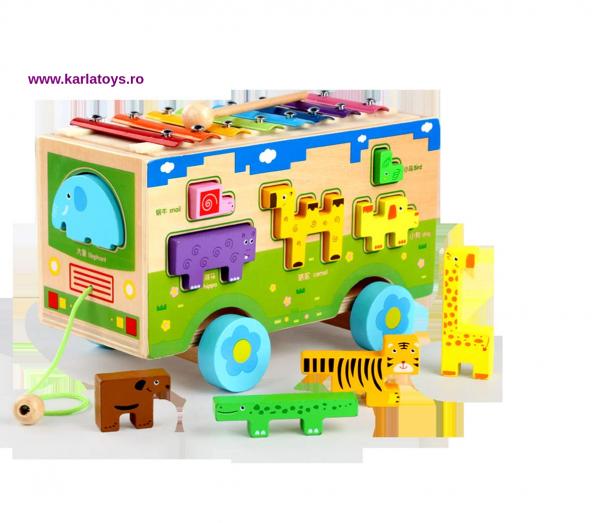 Jucarie din lemn educationala Autobuzul cu animale si Xilofon 0