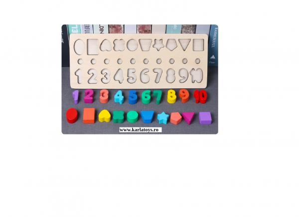Joc din Lemn 3 in 1 Rainbow Digital Board - Joc Lemn 3 in 1 Numere 3