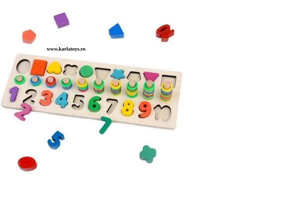 Joc din Lemn 3 in 1 Rainbow Digital Board - Joc Lemn 3 in 1 Numere 5