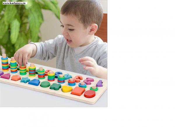 Joc din Lemn 3 in 1 Rainbow Digital Board - Joc Lemn 3 in 1 Numere 0