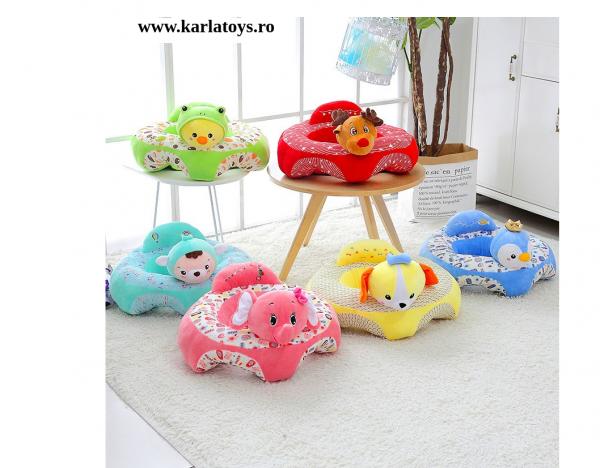 Fotoliu bebe Sit up din plus Animalute Colorate 1