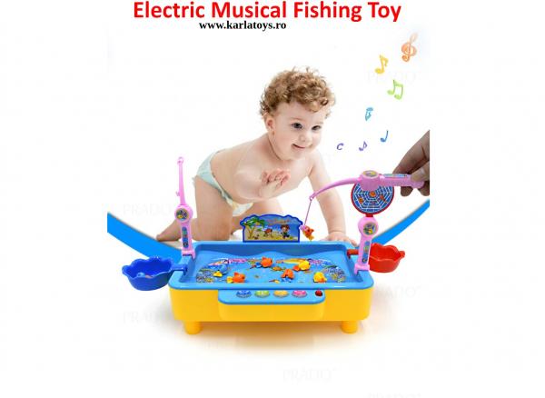 Joc de pescuit magnetic cu muzica si port USB 2