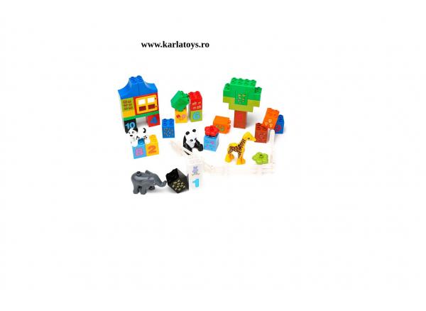 Set cuburi de construit cu cifre si animale tip duplo 42 de piese 3