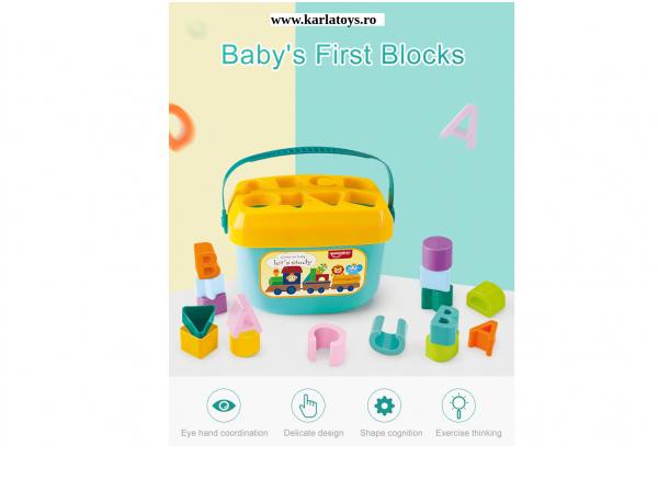 Set Galetusa Sortator Forme gometrice Litere - Baby's first block Huanger 1