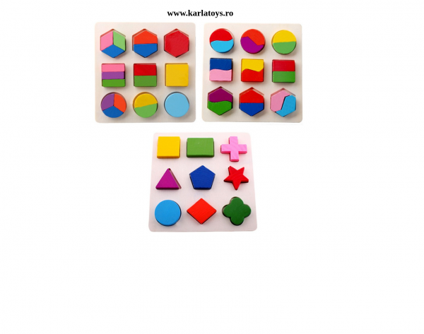 Set 2 Puzzle Sortator Forme geometrice Montessori 3D 0