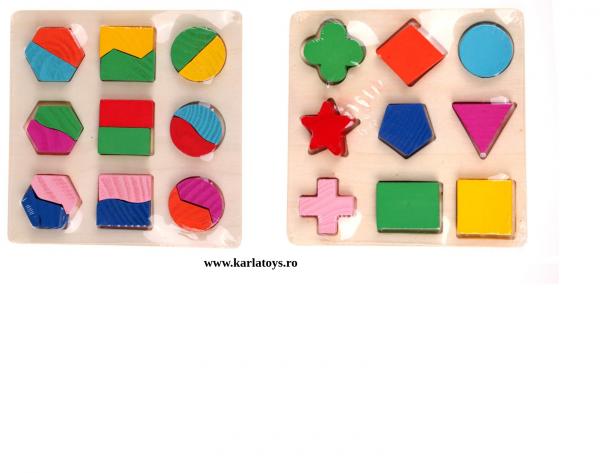 Set 2 Puzzle Sortator Forme geometrice Montessori 3D 3