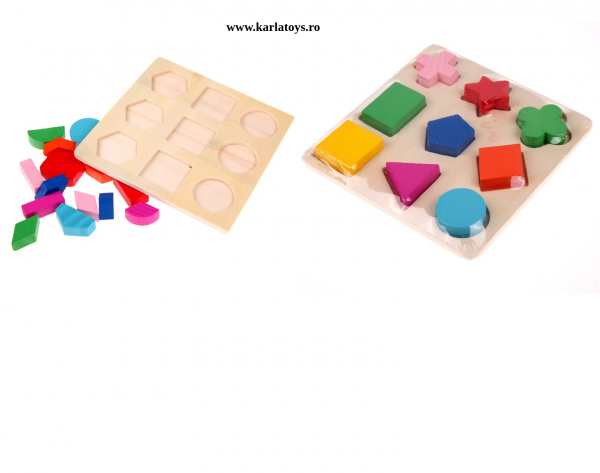 Set 2 Puzzle Sortator Forme geometrice Montessori 3D 2