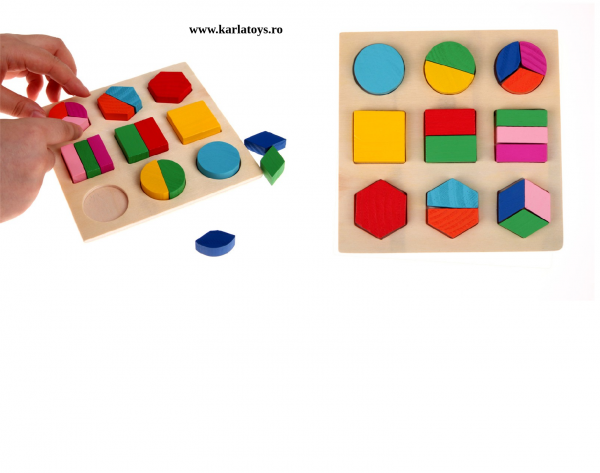 Set 2 Puzzle Sortator Forme geometrice Montessori 3D 4
