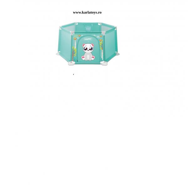Tarc bebe Hexagonal cu 50 de bile si mini cos Happy Panda 145 de cm culori pastel 1