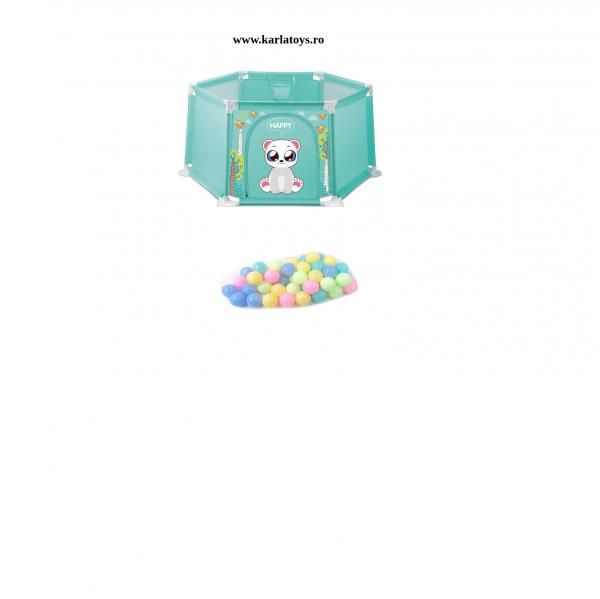 Tarc bebe Hexagonal cu 50 de bile si mini cos Happy Panda 145 de cm culori pastel 0