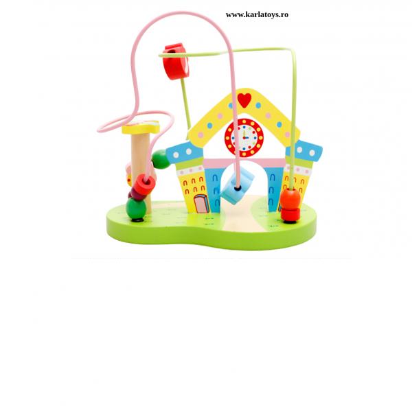 Joc Montessori Circuit cu ceas din lemn 0