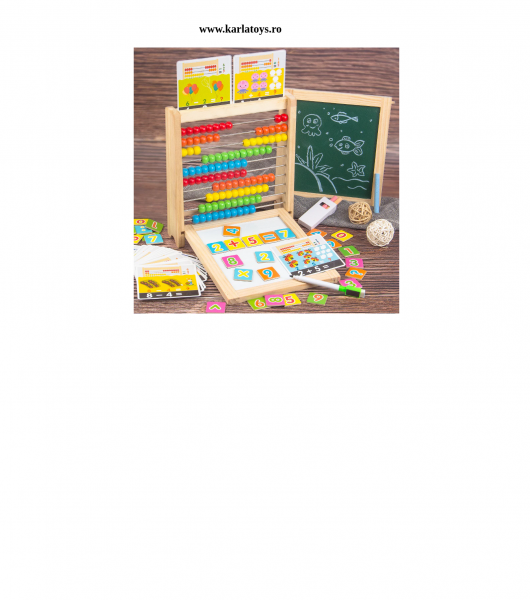 Abac cu tabla cu 2 fete din lemn cu accesorii 4 in 1 6