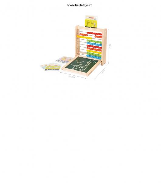 Abac cu tabla cu 2 fete din lemn cu accesorii 4 in 1 9