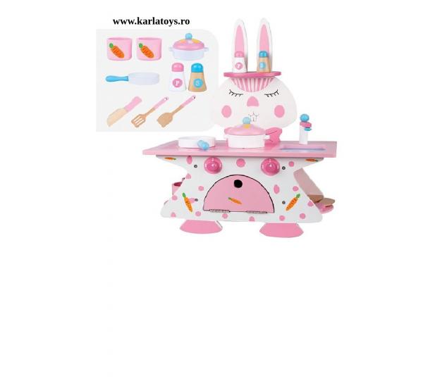 Mini bucatarie de lemn Pink Rabbit 1