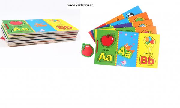 Carte din lemn Alfabet si imagini magnetice 1