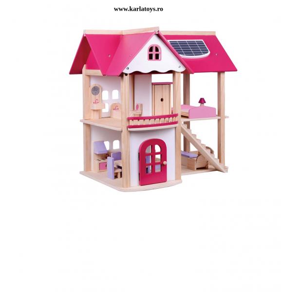 Casuta din lemn pentru papusi cu accesorii Pink House 0