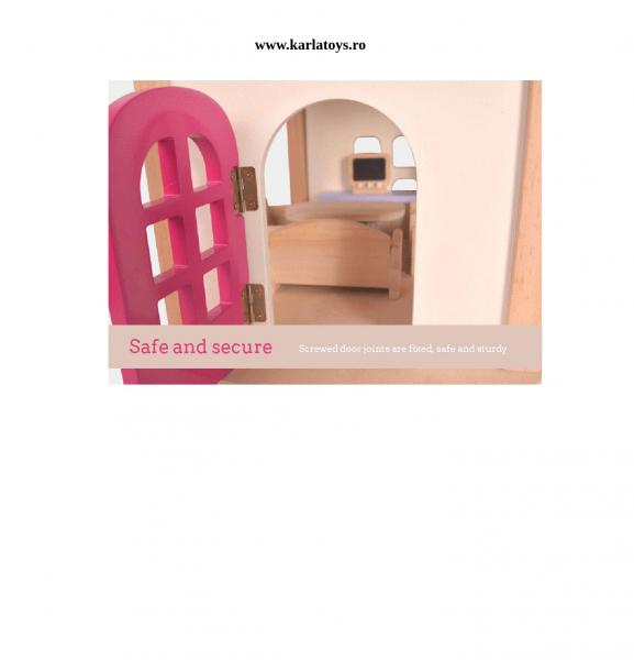 Casuta din lemn pentru papusi cu accesorii Pink House 5