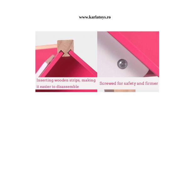 Casuta din lemn pentru papusi cu accesorii Pink House 4