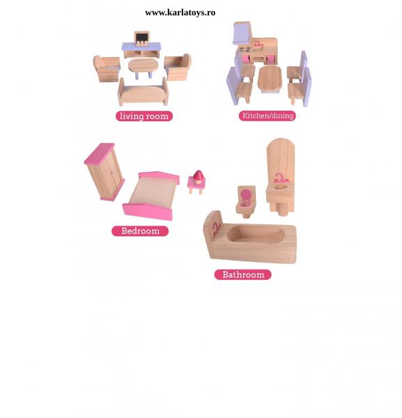 Casuta din lemn pentru papusi cu accesorii Pink House 3