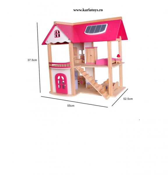 Casuta din lemn pentru papusi cu accesorii Pink House 1