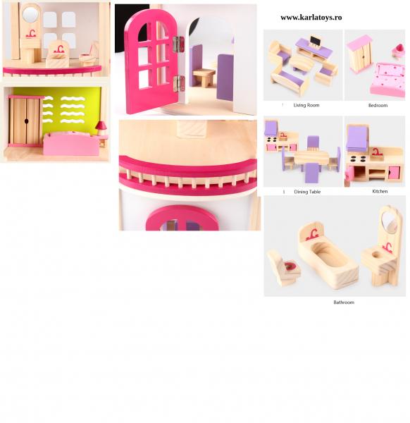 Casuta din lemn pentru papusi cu accesorii Pink House 2