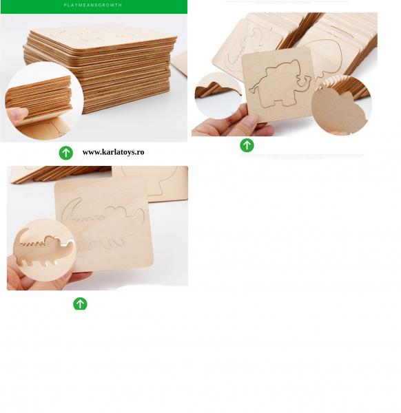 Trusa desen cu Sabloane din lemn si accesorii pentru copii 12