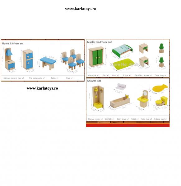 Set Mobilier pentru papusi din lemn 2