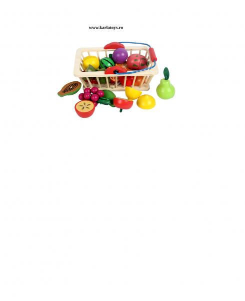 Cosulet din lemn cu fructe de feliat 16 piese 3