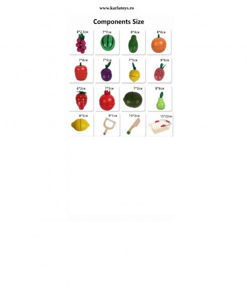 Cosulet din lemn cu fructe de feliat 16 piese 2