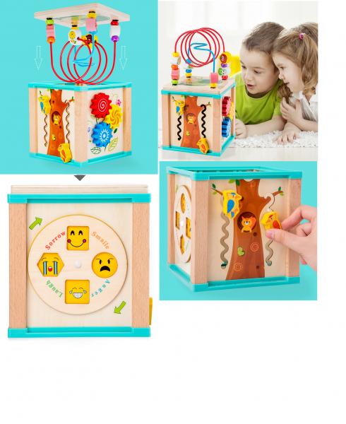 Cub interactiv lemn Bufnita cu ceas 5 in 1 9