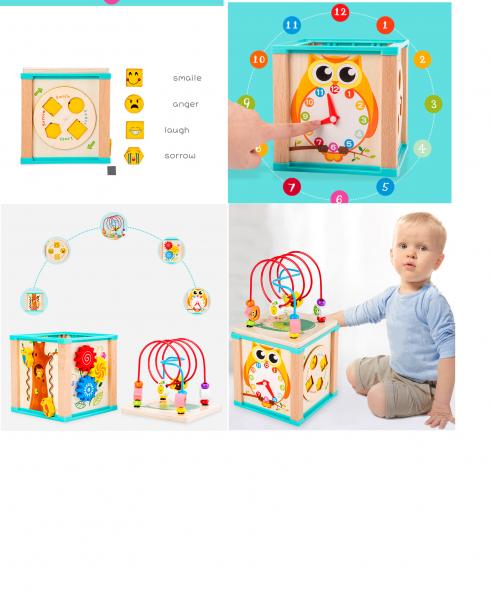 Cub interactiv lemn Bufnita cu ceas 5 in 1 7