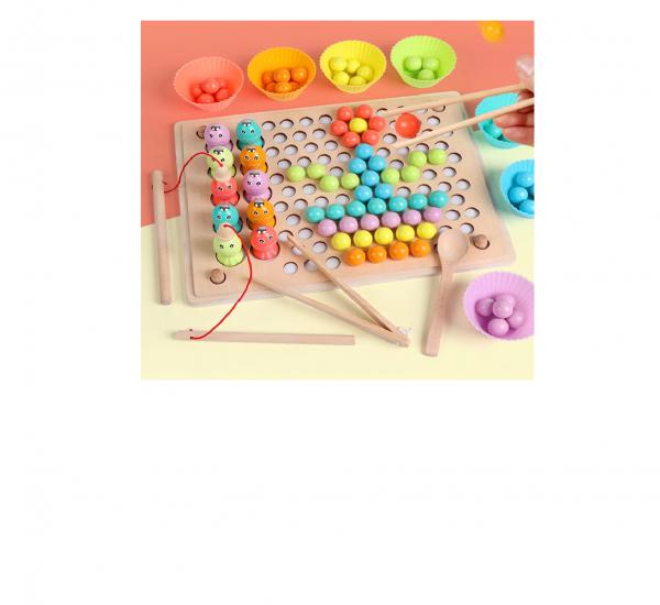 Joc Montessori din lemn sortator culori si joc de pescuit copii 0