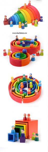 Cuburi din Lemn Curcubeu Montessori 2